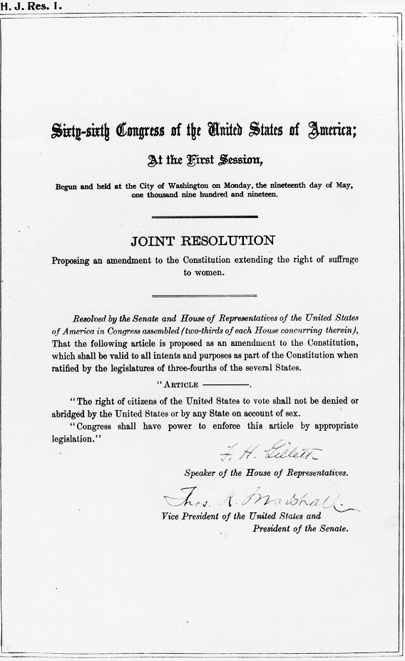 Joint Resolution by Congress for 19th Amendment