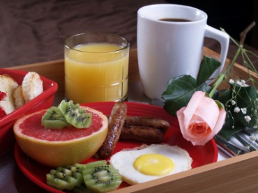 Breakfast on a Tray with a Pink Rose