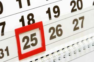 christmas calendar showing december 25 when is christmas - When Is Christmas