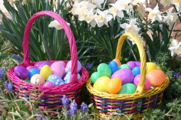 Two Easter Baskets with Colored Eggs
