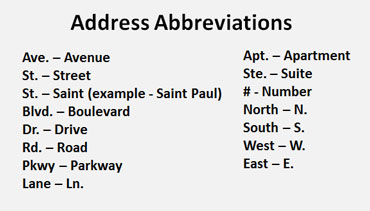 Address Abbreviations