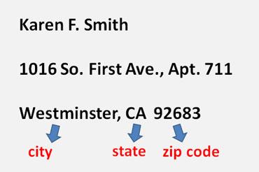 City, State, Zip Code