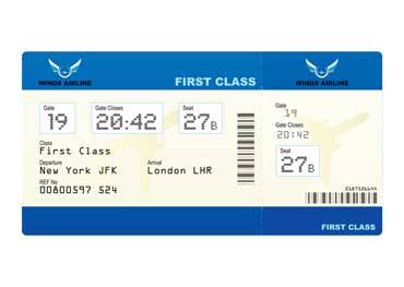 Airplane Ticket with Seat Number