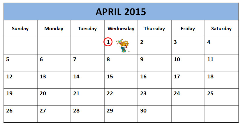 Calendar Showing April Fool's Day in 2015