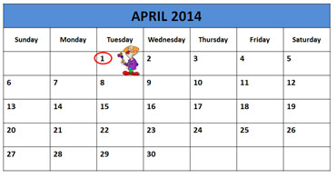 Calendar Showing April Fool's Day in 2014