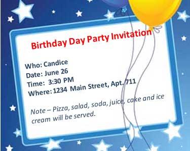 Esl birthday party lesson birthday party invitation stopboris Gallery