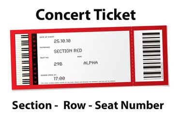 Concert Ticket with Section, Row,and Seat Number