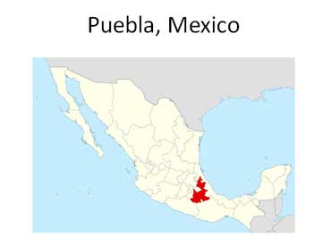 Map Showing Puebla, Mexico