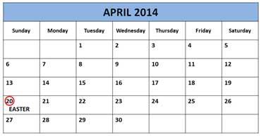 Calendar Showing Easter
