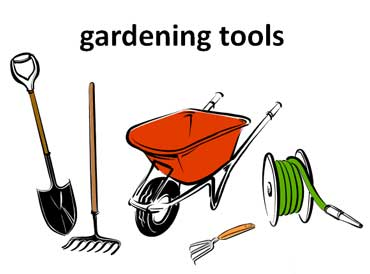 Gardening Tools - Shovel, Rake, Wheelbarrow, Hose, and Hand Tool