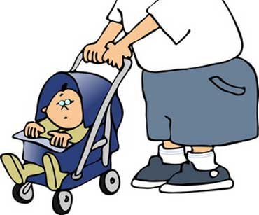 Dad Pushing a Baby in a Stroller