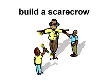 Father and Son Building a Scarecrow