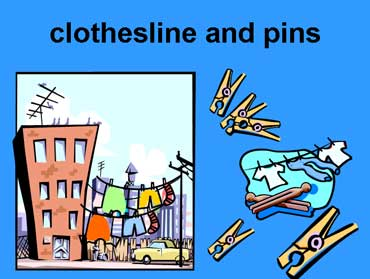 Clothesline and Clothespins