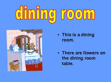 Esl lesson on rooms page 2 for Dining room vocabulary esl