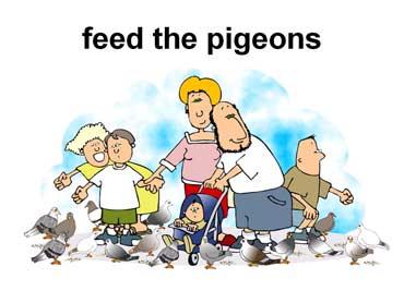 Family Feeding Pigeons