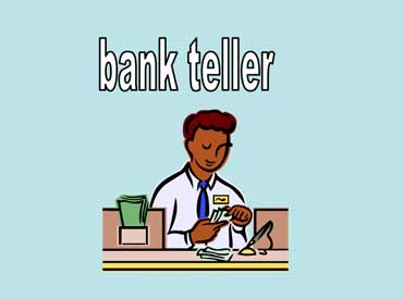 Bank Teller Working at the Bank