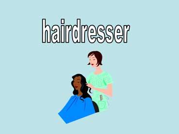 Hairdresser Combing a  Customer's Hair