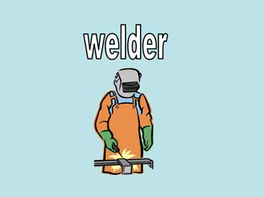 Welder Wearing a Safety Mask