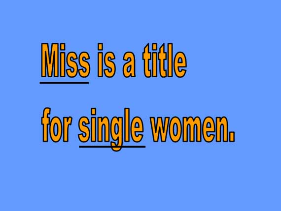 Miss - Title for Single Women