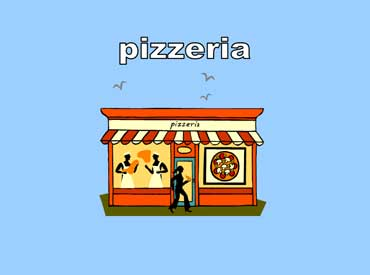 Pizzeria with Two Cooks and a Customer Eating Pizza