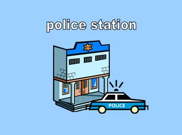 Police Station with a Police Car in Front