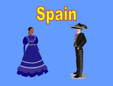Woman and Man Wearing Spainish Dancer's Costumes