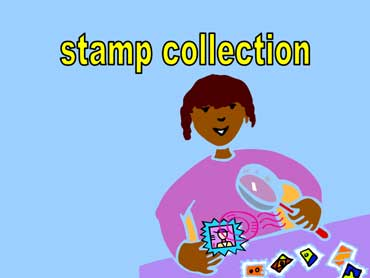 Woman Looking at Her Stamp Collection