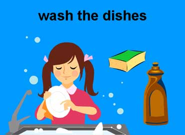 Young Girl Washing the Dishes
