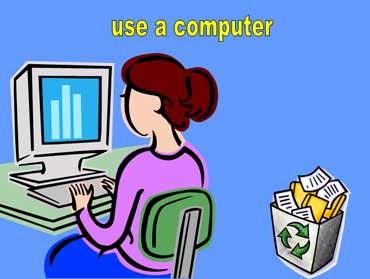 Woman Using a Desktop Computer