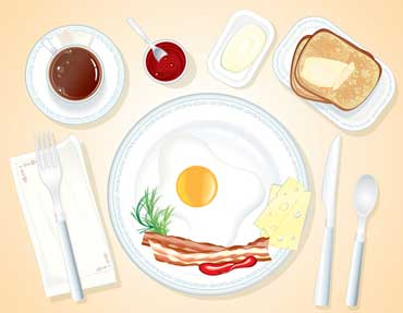 Breakfast with Bacon, Eggs, Hash Browns, and Toast