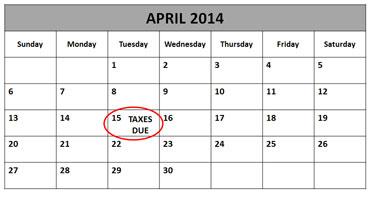 April 15th Circled on Calendar