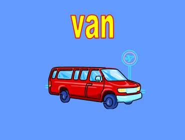 Red Van Going to the Airport