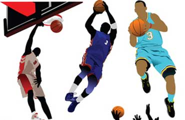 Basketball Players Wearing Team Uniforms