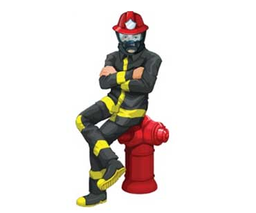 Firefighter Wearing Helmet, Boots, Rubber Uniform