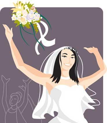 Bride Throws a Bouquet