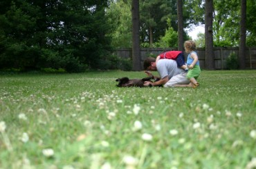Father Playing with Dog and Children