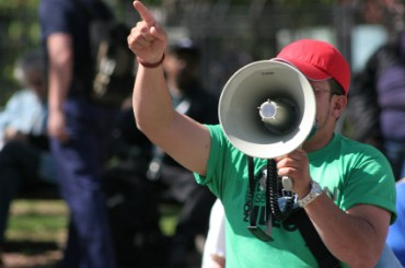 Freedom of Speech, Man with Bullhorn