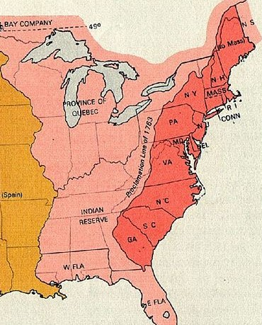 Map of the 13 Original Colonies