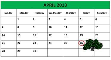 Calendar Shows Arbor Day