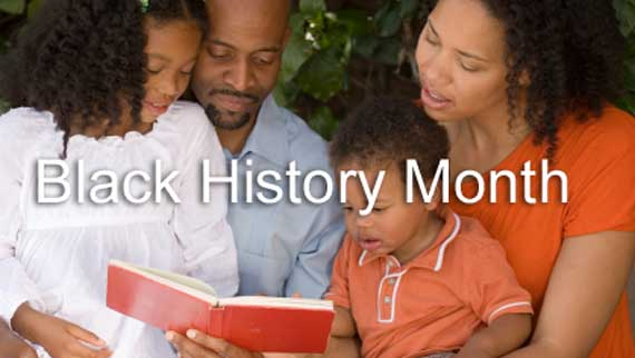 Black History Month - African American Family Reading a History Book