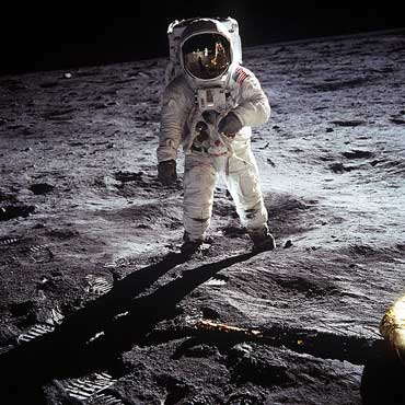 Astronaut Aldrin on Moon in 1969