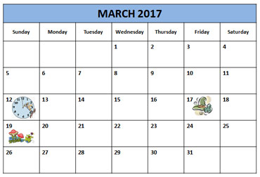 Daylight Savings Time Calendar March