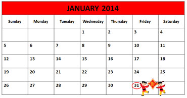 Chinese New Year, January 31, 2014, Calendar