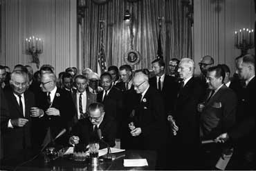 President Johnson Signing the Civil Rights Act, 1964