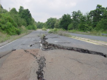 A Road Damaged from an Earthquake