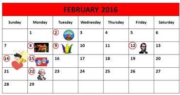 February 9, 2016 - Calendar Showing Mardi Gras
