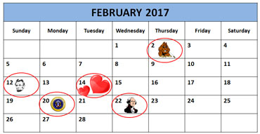 Calendar Showing Groundhog Day