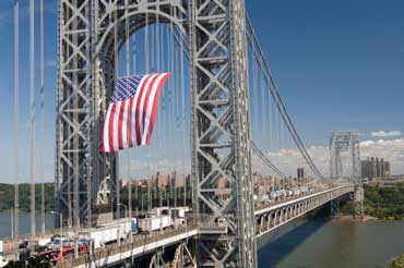 George Washington Bridge with Flag