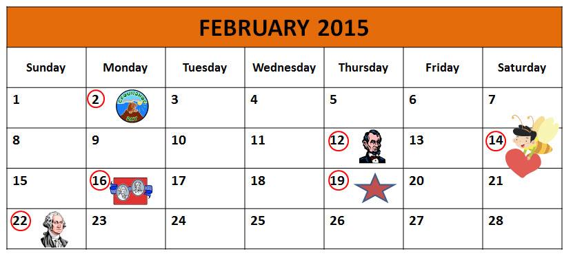 Calendar Showing Groundhog Day, February 2, 2015