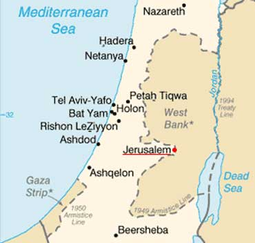 Map of Jerusalem, Israel
